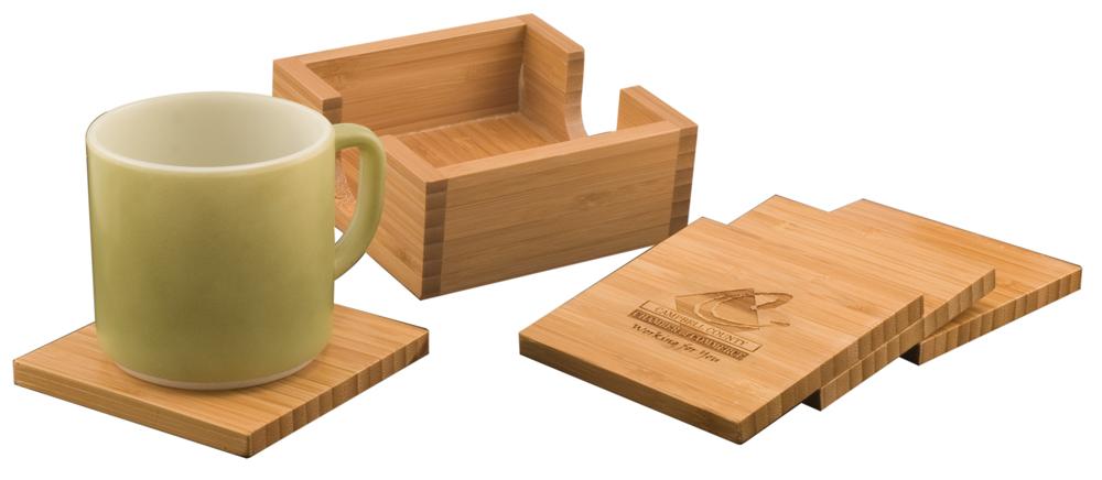 Bamboo Coaster Set Fran Ann Engraving